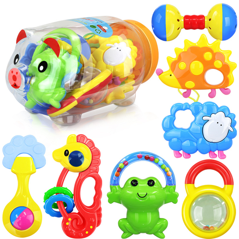 Toys For 0 12 Months : Baby plastic rattles and teether set months