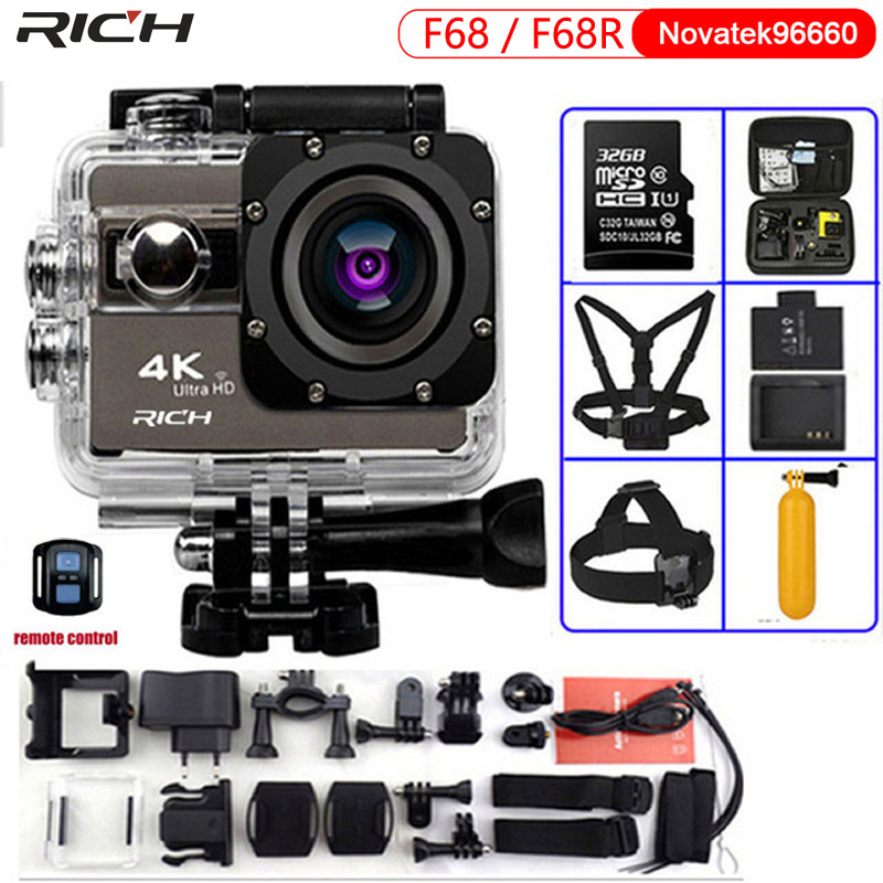Action Camera F68 Ultra HD 4K 24FPS gopro hero4 stlye Wifi Novatek 96660 Waterproof F68R Remote control Extreme Sports Camera