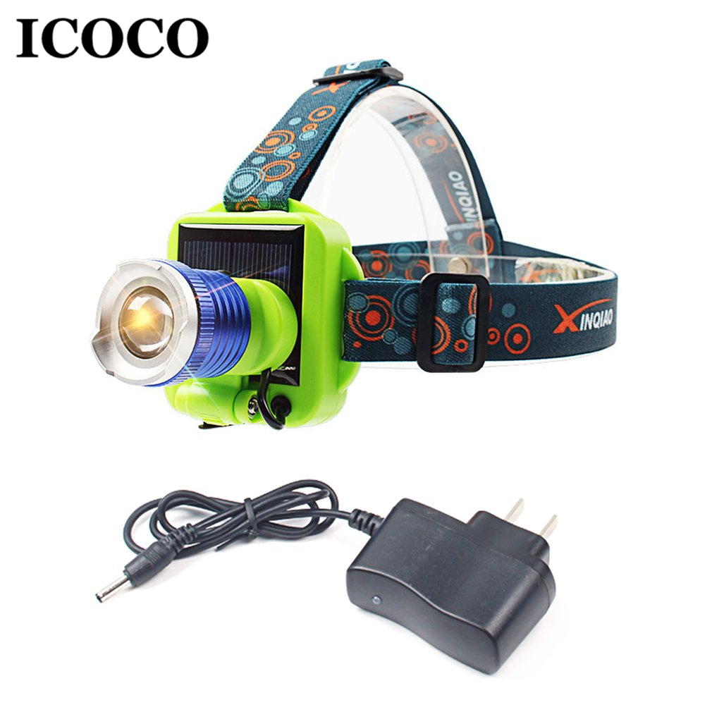 ICOCO Portable LED Solar Charging Long-range Headlight Glare Rechargeable Flashlight Lon ...