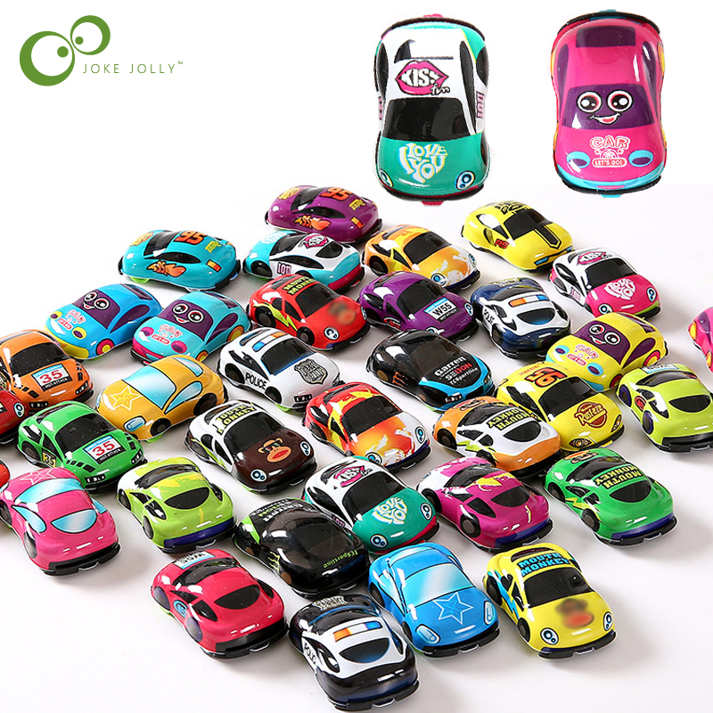 10pcs/lot Cartoon Toys Cute Plastic Pull Back Cars Toy Cars For Child Wheels Mini Car Model Funny Kids Toys For Boys Girls WYQ(China)