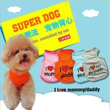 2016 New Summer Pet Puppy Small Cat Pet Dog Clothes Vest I Love My Mommy style T Shirt Apparel Hot Sale free shipping