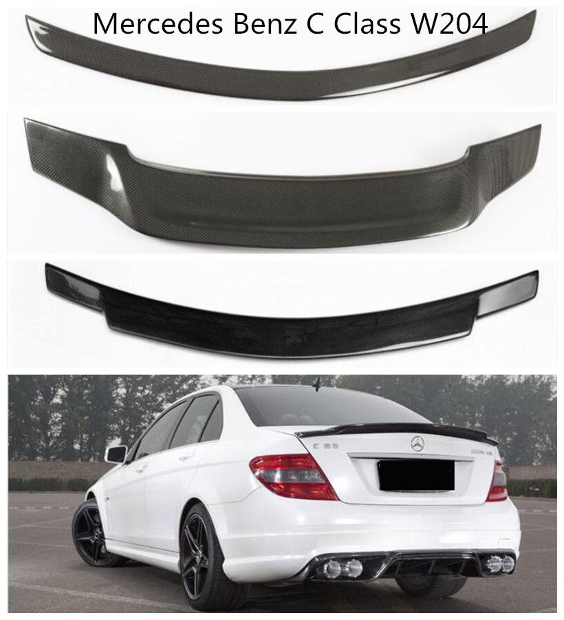 Carbon Fiber Spoiler For <font><b>Mercedes</b></font> Benz C Class W204 C63 C180 C200 C230 C260 <font><b>C300</b></font> 2007-2014 High Quality Rear Wing Spoilers image