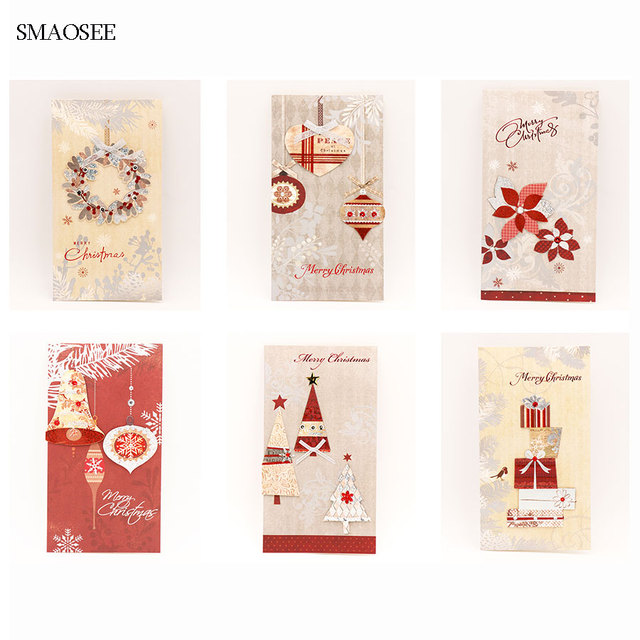 6pcs Set Three Dimensiona Christmas Greeting Card Kids Birthday