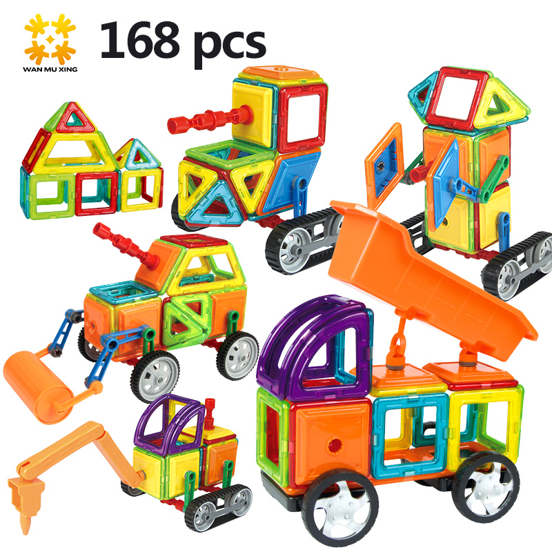 Medium Size 168pcs /96pcs Magnetic Blocks Magnetic Designer Construction 3D Model Magnetic Blocks Educational Toys For Children magplayer 3d magnetic blocks assemblage 65pcs magnetic blocks magnetic model diy building blocks educational toys for children