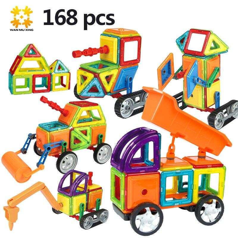 Tamaño mediano 168 piezas/96 piezas bloques magnéticos magnético diseñador de construcción 3D modelo bloques magnéticos juguetes educativos para niños