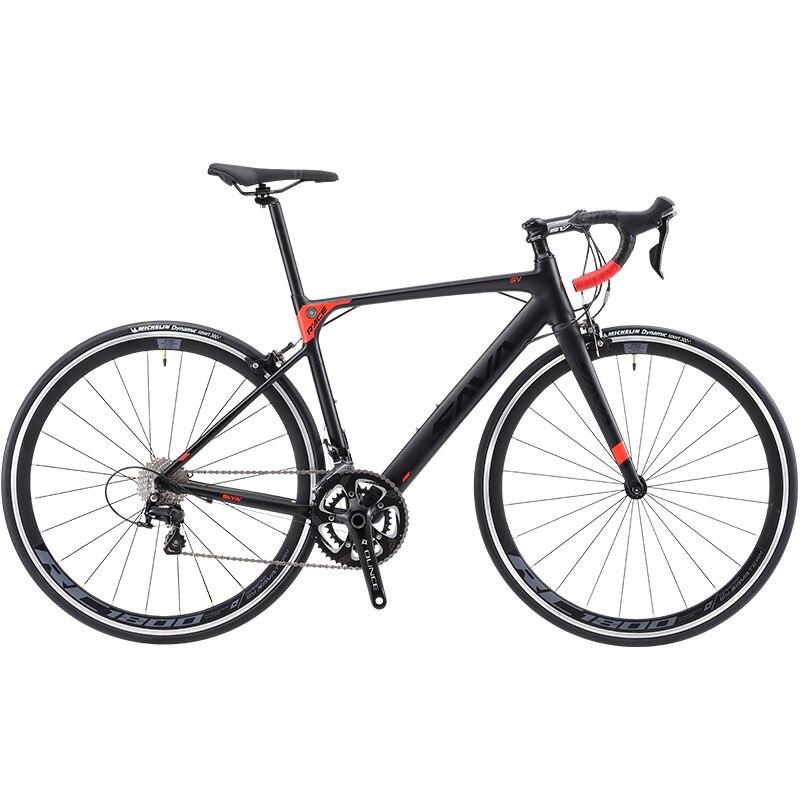 SAVA Road Bike R8 Carbon Road Bike Carbon Bike Bicycle Racing Roadbike With SHIMANO SORA R3000 18 Speed Road Bicycle Carbon Fork