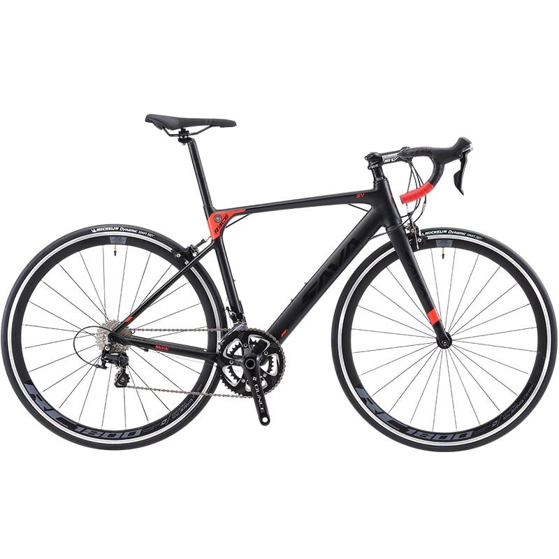 SAVA vélo de Route R8 Carbone vélo de route de Carbone de bicyclette de vélo Racing roadbike avec SHIMANO SORA R3000 18 Vitesse vélo de route de carbone fourche