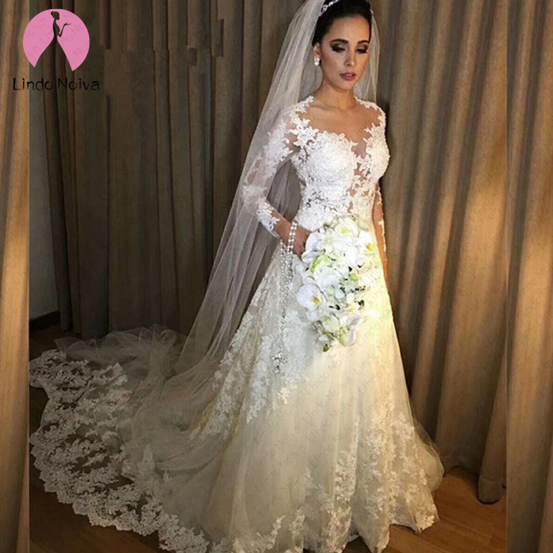 Vestido De Noiva Cheap Sexy Illusion A Line Long Sleeves Lace Wedding Dress 2019 Robe De