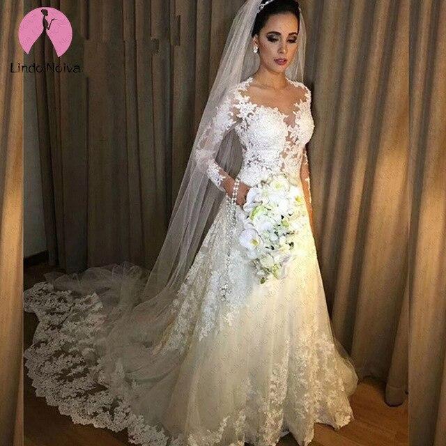 Vestido De Noiva Cheap Sexy Illusion A Line Long Sleeves Lace Wedding Dress 2019 Robe De Mariee Vestido De Casamento Custom Made