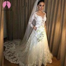 Vestido De novia barato Sexy ilusión una línea De mangas largas De encaje Vestido De novia 2019 Vestido De novia Vestido De boda hecho A medida