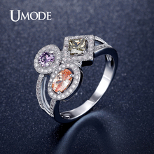 UMODE Brand New AAA Cubic Zircon Crystal Cocktail Ring White Rose Gold Color Fashion Jewelry For