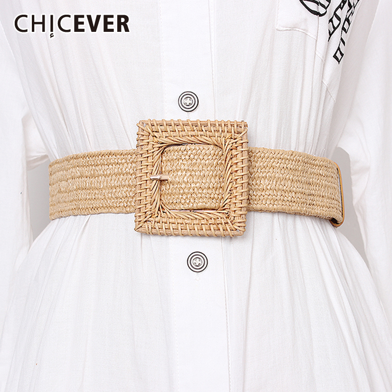 CHICEVER Linen Striped Widely Belts For Female Vintage Dresses Accessories Fashion New Tide 2019 Summer Korean
