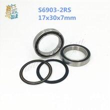 Gratis Verzending S6903-2RS S6903RS 17*30*7mm Hub rvs si3n4 hybride keramische lagers SC6903-2rs 17x 30x7mm voor fiets deel