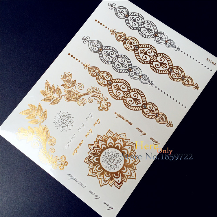 unid lamo flash metlico oro plata etiqueta engomada del tatuaje temporal de henna indio cadena