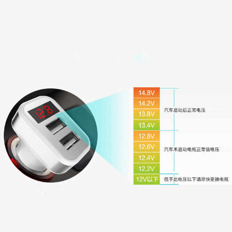 Auto Cigarette Lighter Universal 2.1A Dual USB Car Charger Adapter with LED Indicator Voltage Current Detector for Phone Tablet