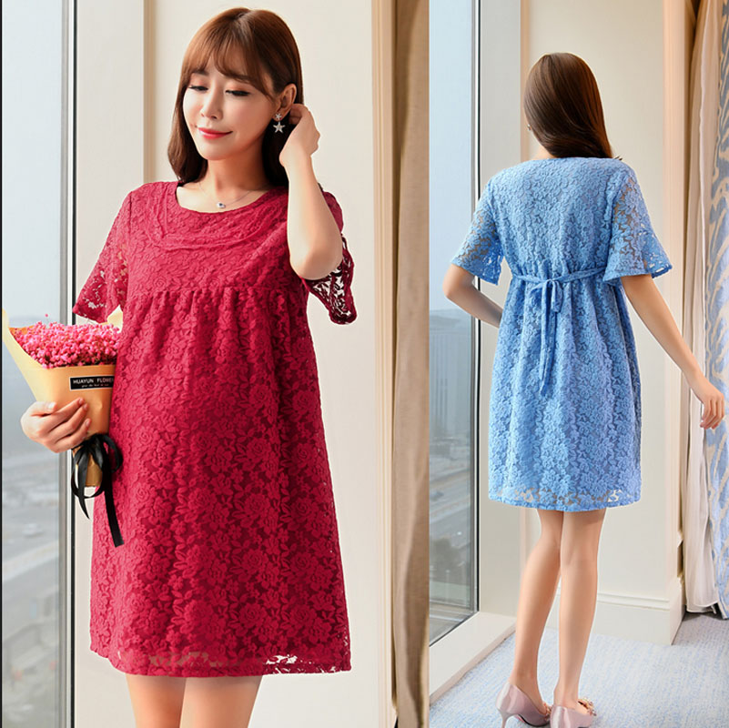Elegant Lace Maternity Dress Cloth for Pregnant Women Long Loose Summer New Women Pregnancy Dress Maternity Clothes M-2XL Size