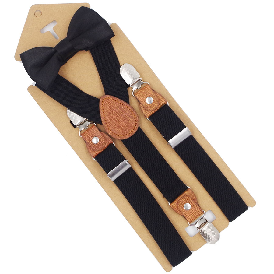 JIERKU Suspenders Kid's Braces Baby Suspenders With Bow Tie 3Clips  Suspensorio Fashion Trousers Strap 2.5*65cm KD0730