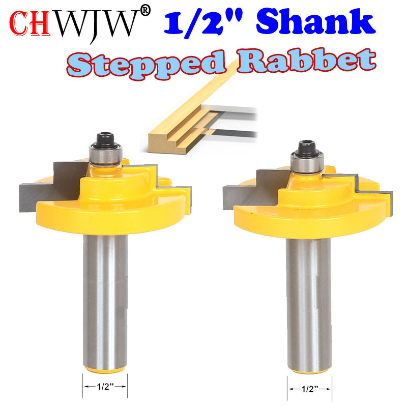 1PC 1/2 Shank Picture Frame Stepped Rabbet Molding Router Bit C3 Carbide Tipped Wood Cutting Tool woodworking router bits 1pc 1 4 shank high quality roman ogee edging and molding router bit wood cutting tool woodworking router bits chwjw 13180q