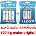 Enelong 4 unid/1 tarjeta de 1.2 v 2100 mah baterías aa + 4 unids/1 tarjeta 900 mah pilas aaa ni-mh aa/aaa batería recargable