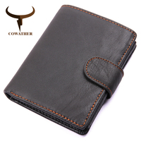 COWATHER Genuine Cow Leather Men Wallet Fashion Coin Pocket Brand Trifold Design Men Purse High Quality