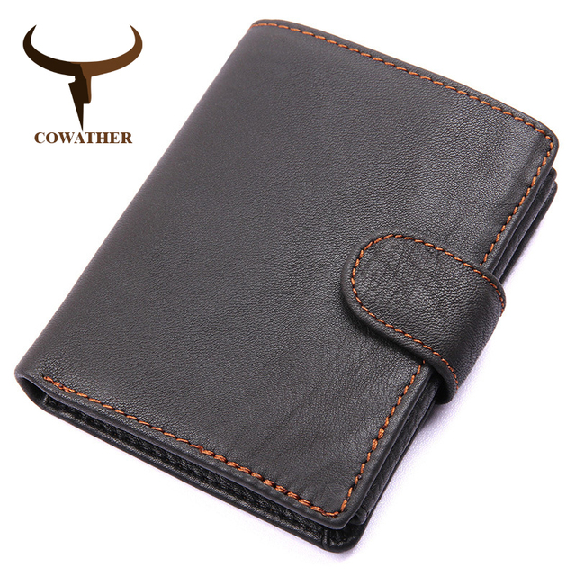 COWATHER из натуральной коровьей кожи Для мужчин кошелек мода монета карман бренд Trifold дизайн Для мужчин кошелек высокое качество мужской карты...
