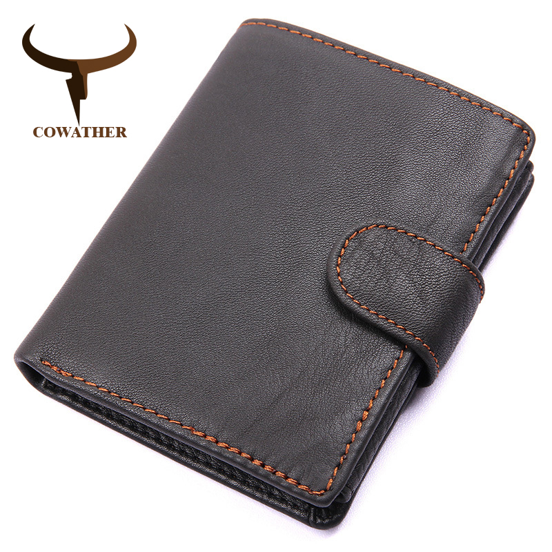 COWATHER Genuine Cow Leather Men Wallet Fashion Coin Pocket Brand Trifold Design Men Purse High Quality Male Card ID Holder new fashion gubintu removeable pocket men vintage wallets cow genuine leather wallet brand purse card holder coin purse jan 19