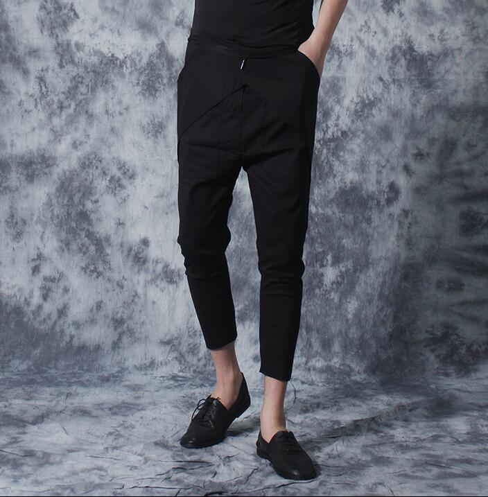 Summer korean personality slim elastic waist feet pants mens capris casual male slim men trousers black pantalon hombre novelty