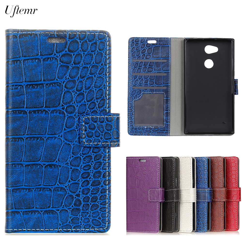 Uftemr Vintage Crocodile PU Leather Cover For Sony Xperia XA2 Protective Silicone Case Wallet Card Slot Phone Acessories