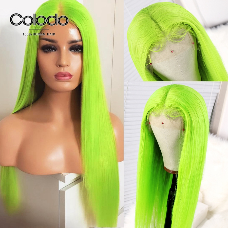 COLODO Brazilian Remy Straight Human Hair Wigs Glueless Neon Green Bob Lace Front Wigs Pre Plucked