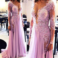 Long Sleeve abendkleider vestidos de fiesta robe de soiree courte vestido de festa longo Appliques Beaded Women Evening Dress