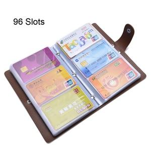 Image 2 - 96 Bits Slots Frauen herren Business Karten Halter Solide Korn PVC Material Schnalle Große Kapazität Bank Set ID Kredit karte Halter