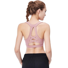 Anti-vibration stereotypes gathered fitness Y-shaped shoulder strap solid color no rims vest yoga bra free shipping