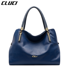 CLUCI Women Top-handle Bag Genuine Leather European and American Style Red/Black/Blue/Purple Zipper Bolsa Feminina Handbags