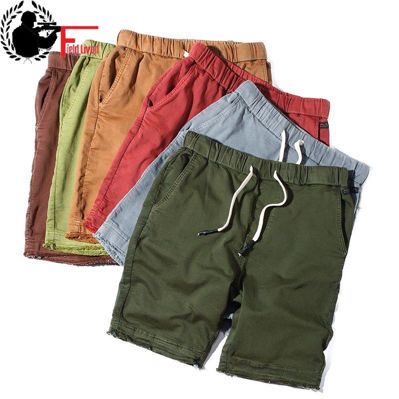 Mens Shorts Capris Bermuda Pocket Drawstring Elastic-Waist Male Summer Cotton Casual