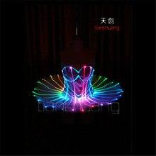 TC-75 Full color LED colorful light women costumes party skirt wear ballroom dance ballet wedding bra dress programming design