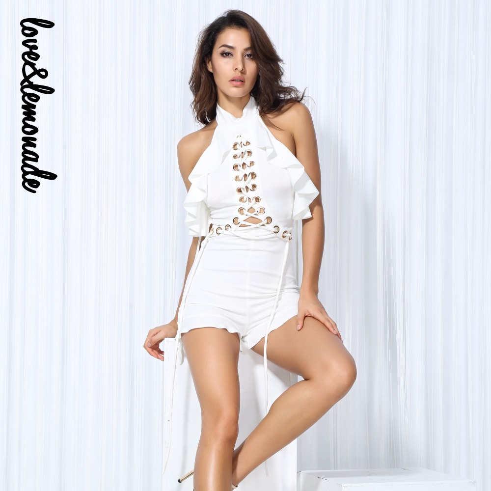 Love&Lemonade   White Cut Out Metal Ring Cross Straps Ruffles Playsuits  LM0138