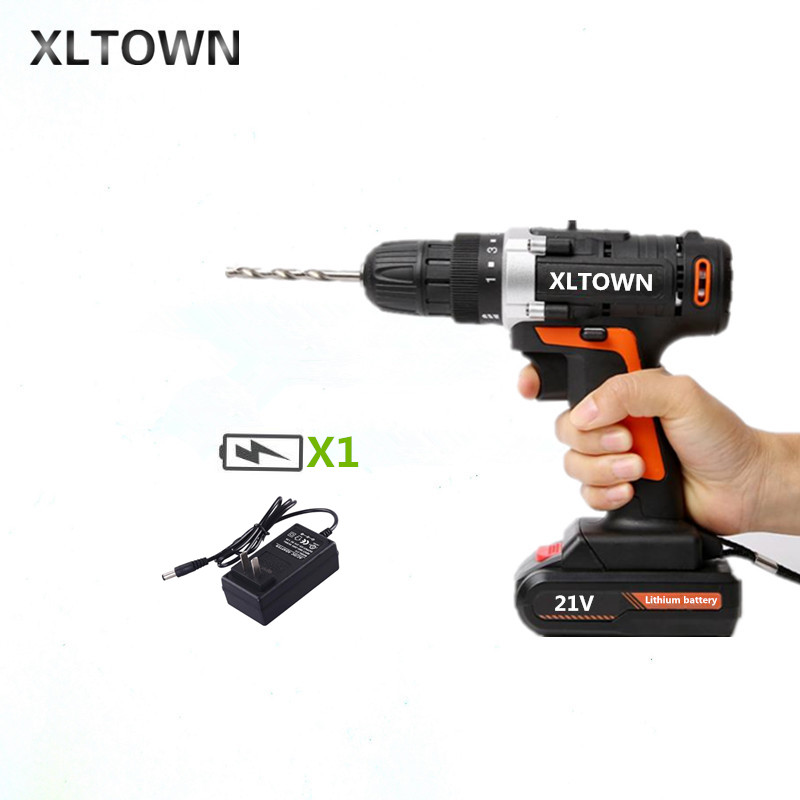 XLTOWN 21V Cordless Electric Screwdriver Rechargeable Lithium Battery Electric Screwdriver Household Electric Drill Power Tools