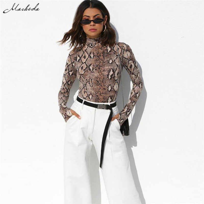 Macheda змеиный принт обтягивающий женский боди 2018 новый модный сексуальный боди Половина Водолазка длинный рукав комбинезон женский