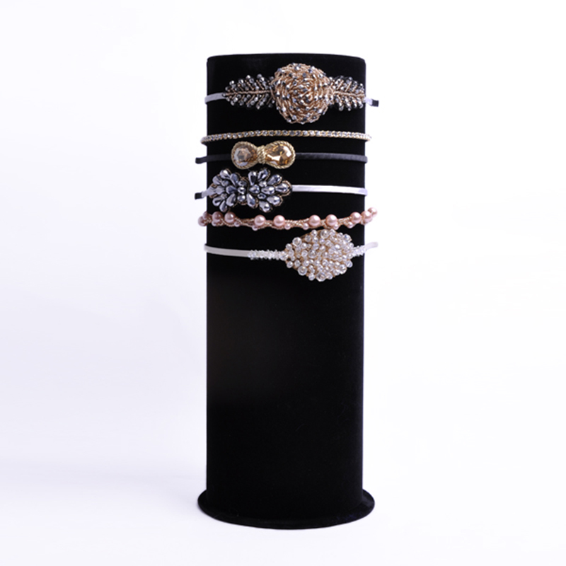 JEROLLIN Top Luxury Black Velvet Big T Bar Jewelry Head Band Display Stand Organizer Cylindrical Jewelry Display Showcase Holder-in Jewelry Packaging & Display from Jewelry & Accessories