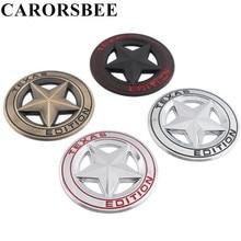 3D Metal TEXAS EDITION Shield Pentagram Emblem Badge Car sticker Motorcycle Auto Decals For JEEP Wrangler Liberty Grand Cherokee