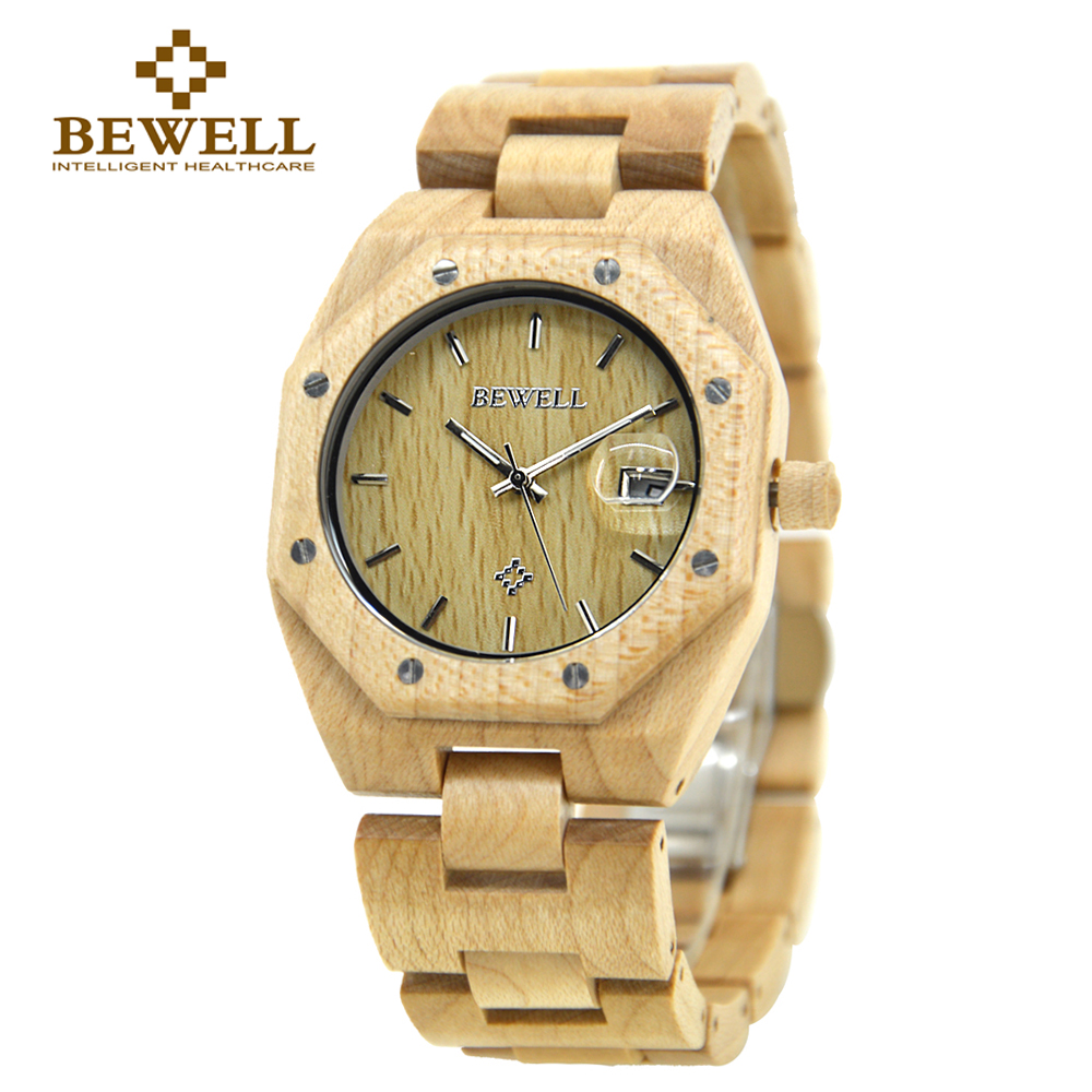 BEWELL montre pour hommes en bois naturel montre de luxe Unique montre à Quartz à la main hommes marque Design montre de mode décontracté 099A