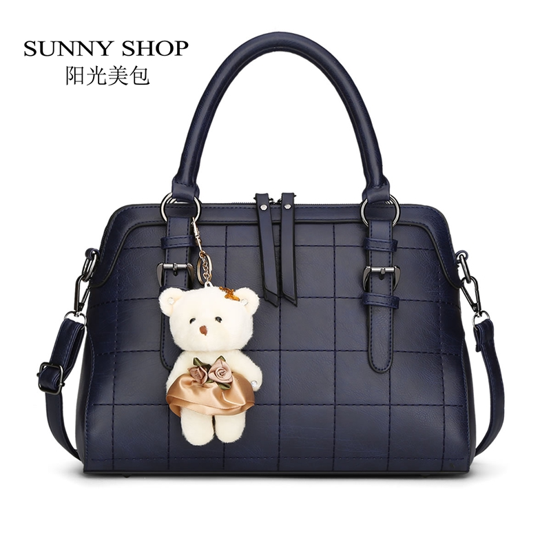 ФОТО SUNNY SHOP 2017 Spring New Plaid Women Shoulder Bag With Bear Toy High Quality European and American Women Bags Vintage Handbag