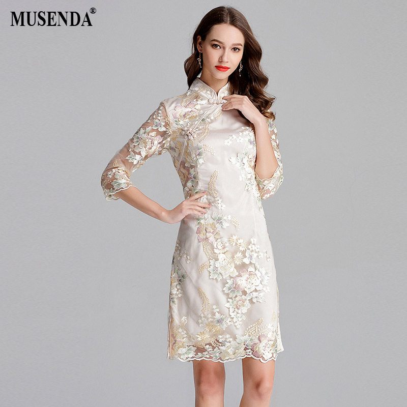 MUSENDA Plus Size Women Golden Mesh Embroidery Button Tunics Cheongsam Dress 2018 Summer Sundress Ladies Vintage Party Dresses