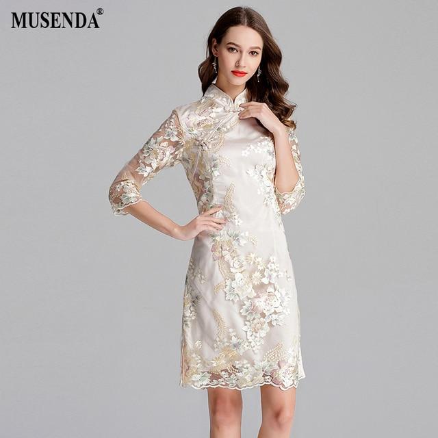 MUSENDA Plus Size Women Golden Mesh Embroidery Button Tunics Cheongsam Dress Summer Sundress Ladies Vintage Party Dresses