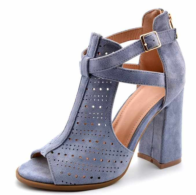 OLOMM Woman Sandals 2019 Summer Suede High Heels Peep Toe Sandals Fashion Ladies Gladiator Shoes Women Sandals
