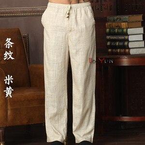 Image 1 - Neue Ankunft Chinesischen männer Kung Fu Hosen Baumwolle Leinen Kung Fu Hose Tai Chi Hosen Wu Shu Hosen Größe M L XL XXL XXXL W32
