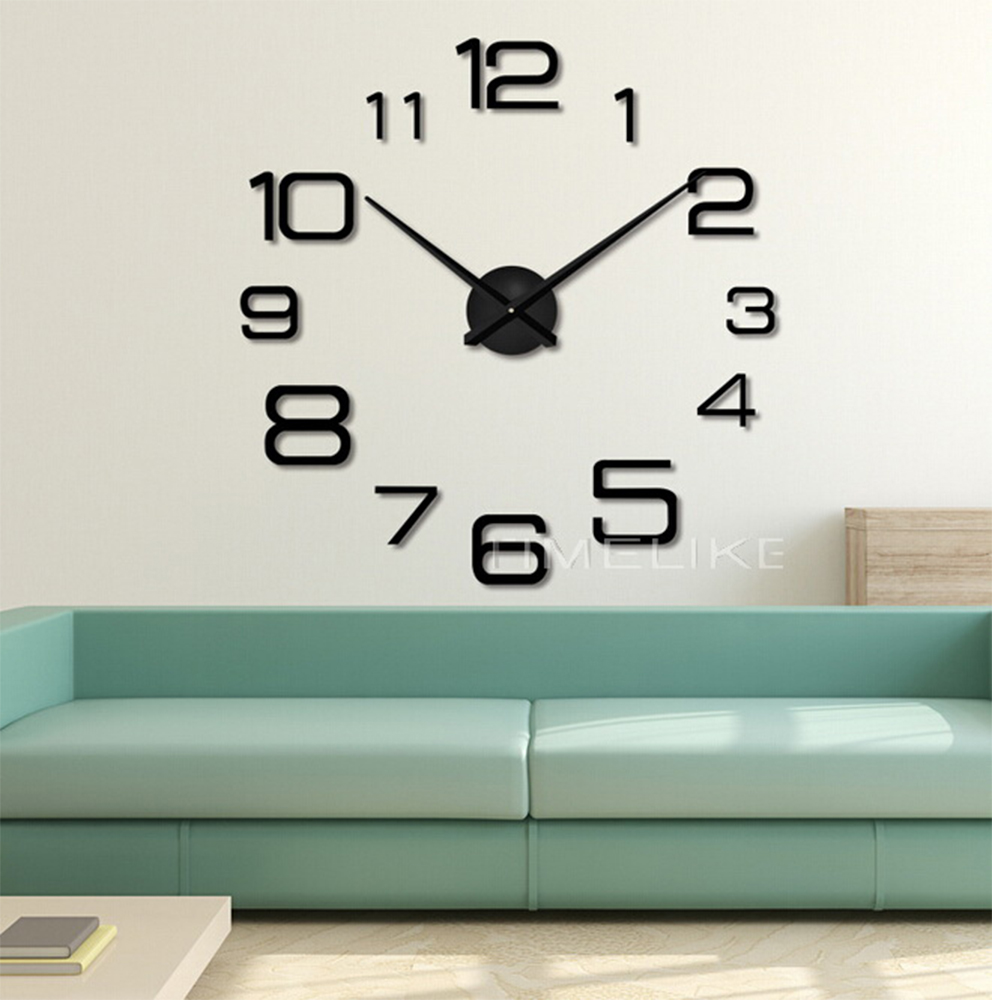 Living Room 3D Large Wall Clock DIY Mirror Wall Stickers ...