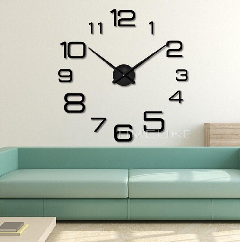 Sala de estar 3d grande relógio parede espelho diy adesivos quartzo mecanismo horloge agulhas decorativo