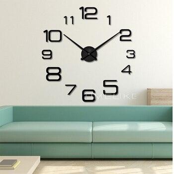 Salon 3D grande Horloge murale bricolage miroir Stickers muraux Quartz Horloge mécanisme aiguilles Relogio De Parede Decorativo