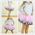 Venta caliente baby girl mini falda de gasa 8 T de princesa tutu pettiskirt 3 capas de la muchacha rosada de la cinta corta